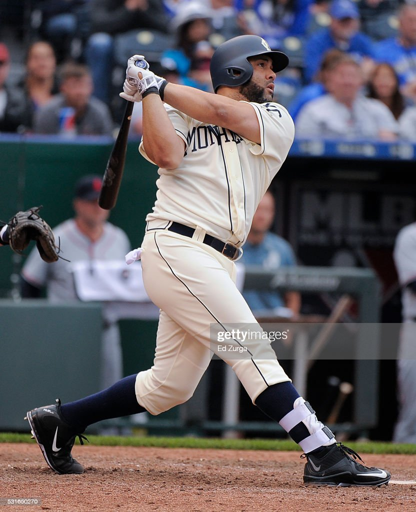Kendrys Morales #25 of the Kansas City Royals hits a two-run walk-off home run in the the 13th inning against the Atlanta Braves at Kauffman Stadium on May 15, 2016 in Kansas City, Missouri. The Royals won 4-2.