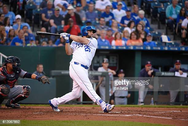 Kendrys Morales of the Kansas City Royals hits against the Minnesota Twins at Kauffman Stadium on September 27 2016 in Kansas City Missouri