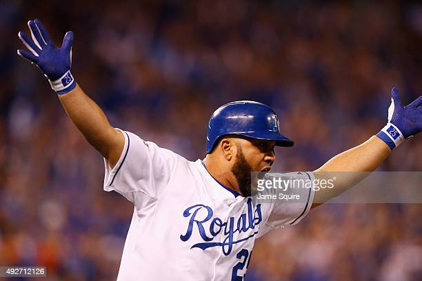 Kendrys Morales of the Kansas City Royals reacts after hitting a threerun home run in the eighth inning against the Houston Astros during game five...