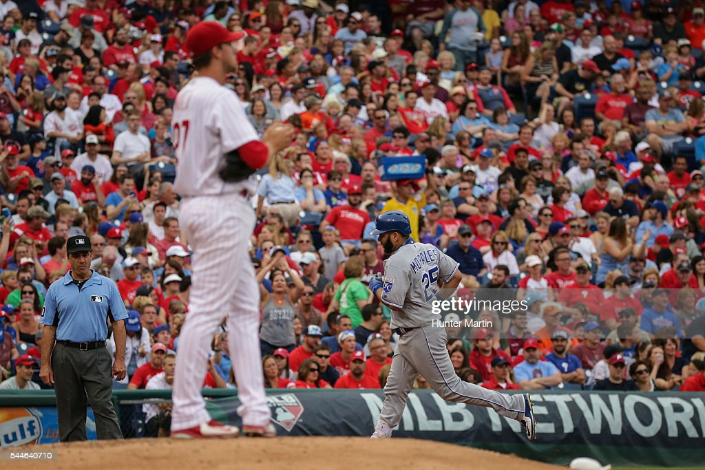 Kendrys Morales #25 of the Kansas City Royals rounds the bases after hitting a three-run home run in the second inning during a game against the Philadelphia Phillies at Citizens Bank Park on July 2, 2016 in Philadelphia, Pennsylvania. The Royals won 6-2.