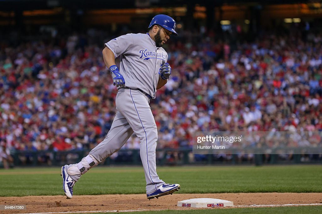 Kendrys Morales #25 of the Kansas City Royals rounds the bases after hitting a solo home run in the eighth inning during a game against the Philadelphia Phillies at Citizens Bank Park on July 2, 2016 in Philadelphia, Pennsylvania. The Royals won 6-2.