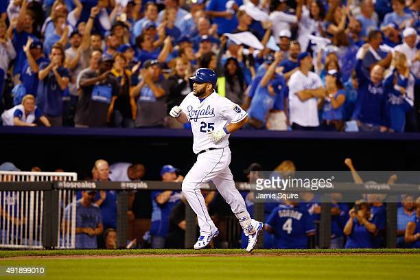 Kendrys Morales of the Kansas City Royals runs the bases after hitting a solo home run in the fourth inning against the Houston Astros during game...