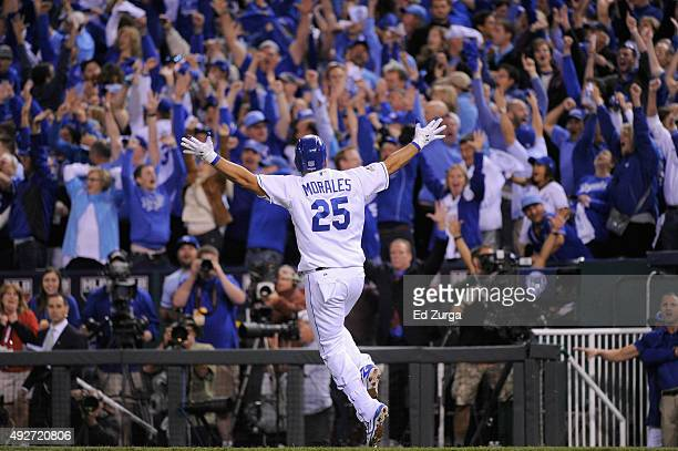 Kendrys Morales of the Kansas City Royals runs the bases after hitting a threerun home run in the eighth inning against the Houston Astros during...
