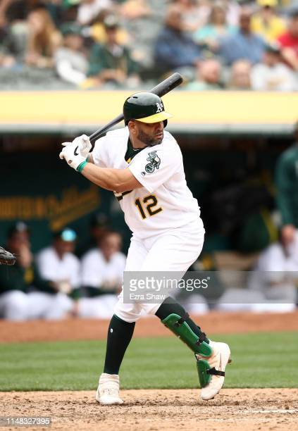 Kendrys Morales of the Oakland Athletics bats against the Cincinnati Reds at Oakland-Alameda County Coliseum on May 09, 2019 in Oakland, California.