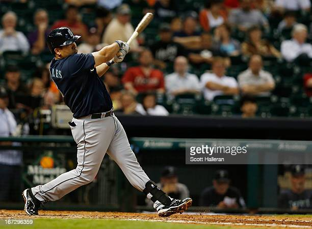 Kendrys Morales of the Seattle Mariners hits a home run in the eighth inning against the Houston Astros at Minute Maid Park on April 23 2013 in...
