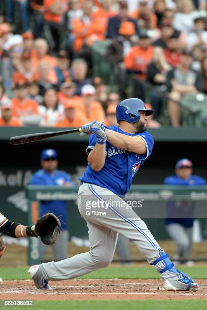 Kendrys Morales of the Toronto Blue Jays bats against the Baltimore Orioles on Opening Day at Oriole Park at Camden Yards on April 3 2017 in...