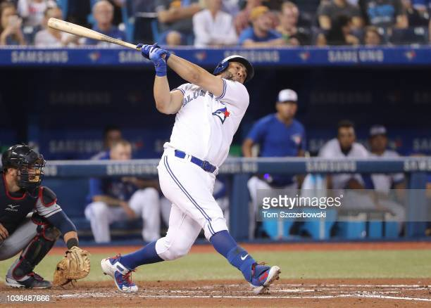 Kendrys Morales of the Toronto Blue Jays bats in the fourth inning during MLB game action against the Cleveland Indians at Rogers Centre on September...