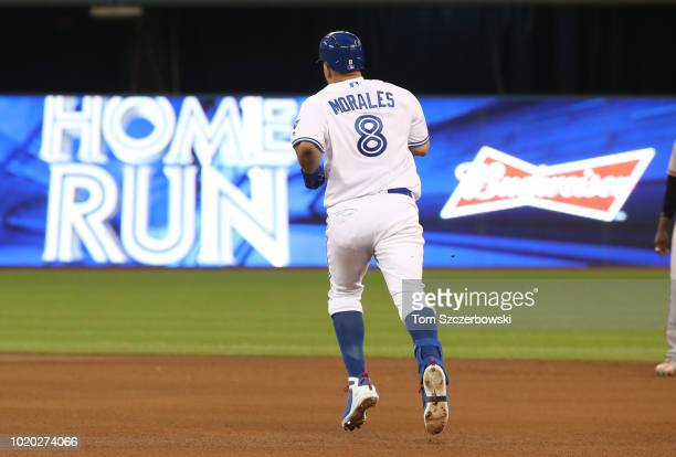 Kendrys Morales of the Toronto Blue Jays circles the bases after hitting a solo home run in the fourth inning during MLB game action against the...