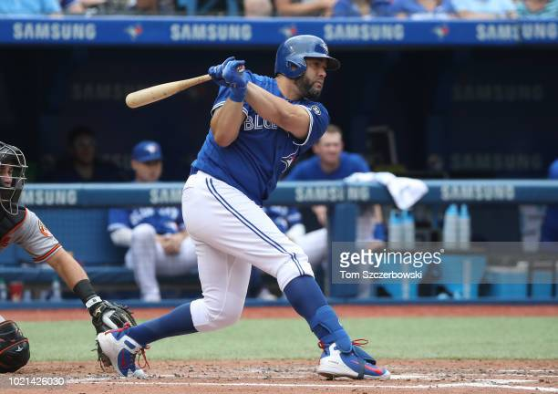 Kendrys Morales of the Toronto Blue Jays hits a single in the fifth inning during MLB game action against the Baltimore Orioles at Rogers Centre on...