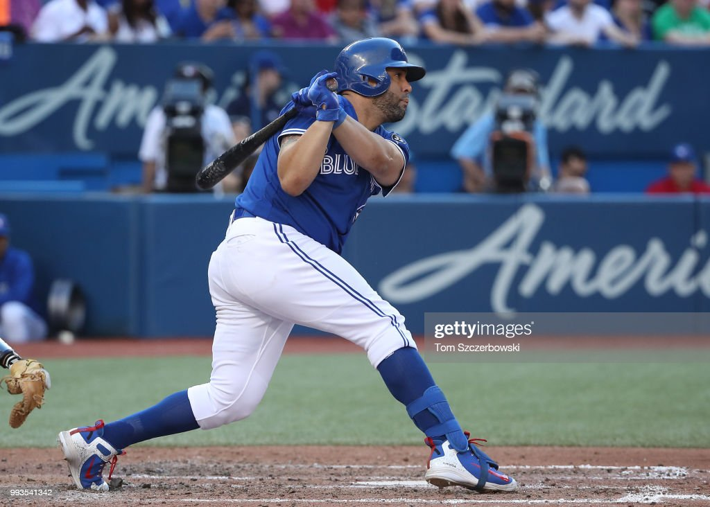 Kendrys Morales #8 of the Toronto Blue Jays hits a single in the sixth inning during MLB game action against the New York Yankees at Rogers Centre on July 7, 2018 in Toronto, Canada.