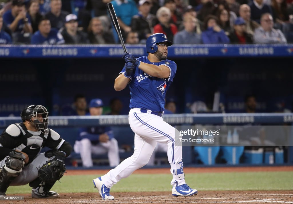 Kendrys Morales #8 of the Toronto Blue Jays hits an RBI single in the eighth inning during MLB game action against the Chicago White Sox at Rogers Centre on April 3, 2018 in Toronto, Canada.