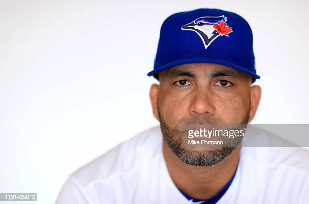 Kendrys Morales of the Toronto Blue Jays poses for a portrait during photo day at Dunedin Stadium on February 22 2019 in Dunedin Florida