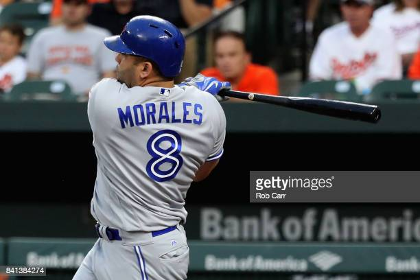 Kendrys Morales of the Toronto Blue Jays swings at a pitch against the Baltimore Orioles in the first inning at Oriole Park at Camden Yards on August...