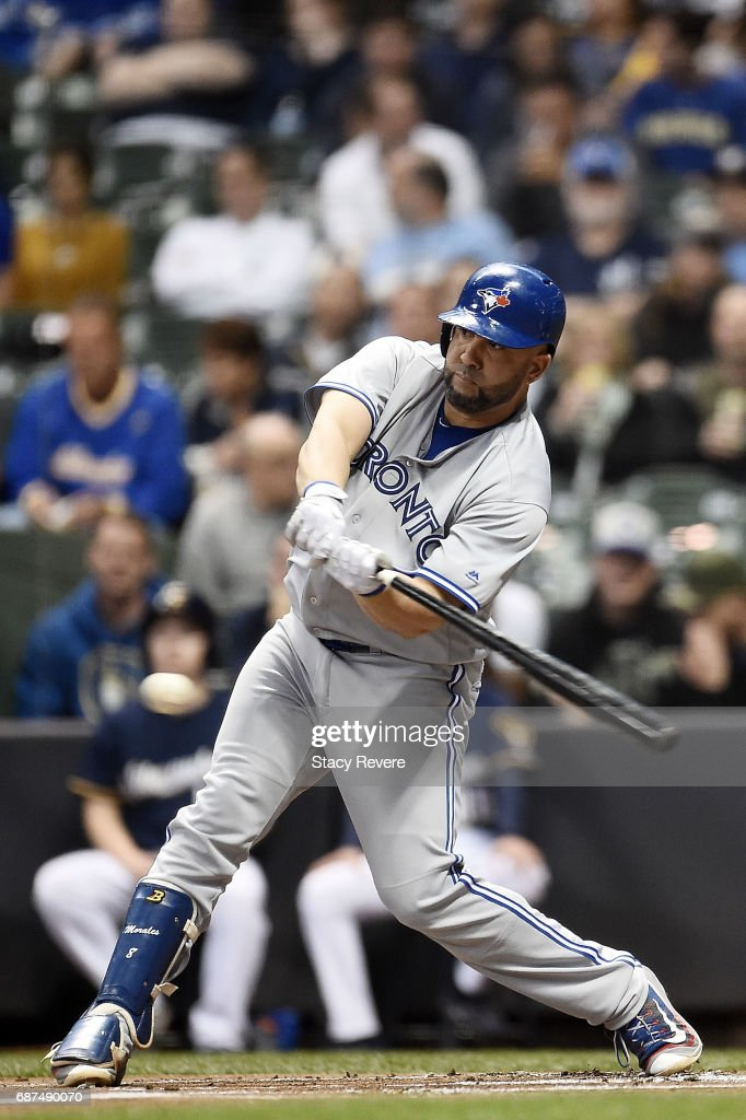 Kendrys Morales #8 of the Toronto Blue Jays swings at a pitch during the first inning of a game against the Milwaukee Brewers at Miller Park on May 23, 2017 in Milwaukee, Wisconsin.