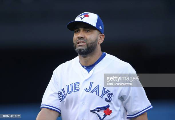 Kendrys Morales of the Toronto Blue Jays warms up before the start of MLB game action against the Tampa Bay Rays at Rogers Centre on September 4 2018...