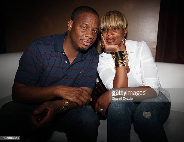 Kendu and Mary J Blige attend the YRB Magazine Art Issue Release Party at Lucky Strike on August 23 2010 in New York City