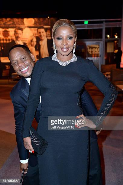 Kendu Isaacs and recording artist Mary J. Blige attend the 2016 Vanity Fair Oscar Party Hosted By Graydon Carter at the Wallis Annenberg Center for...