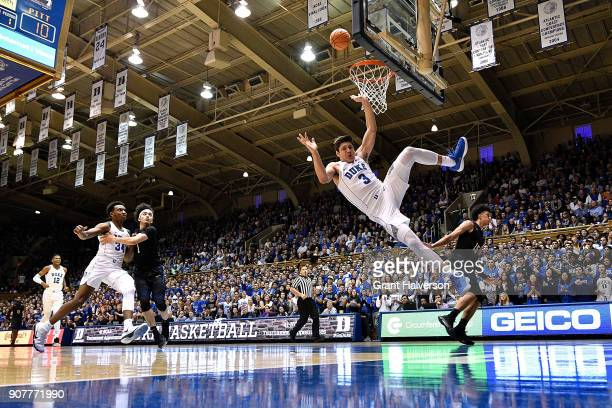 Kene Chukwuka of the Pittsburgh Panthers fouls Grayson Allen of the Duke Blue Devils during their game at Cameron Indoor Stadium on January 20 2018...