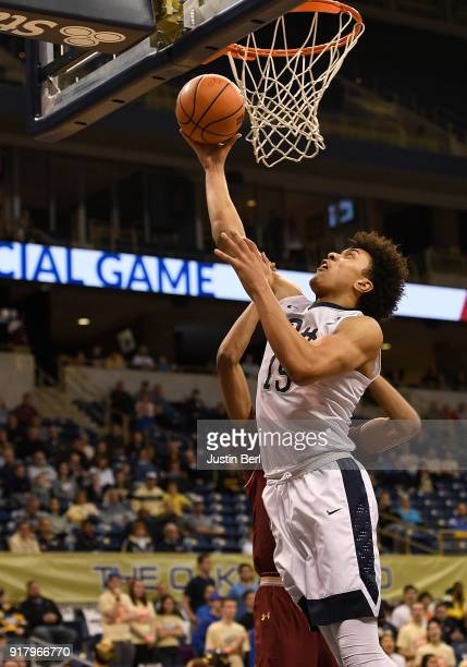 Kene Chukwuka of the Pittsburgh Panthers goes to the basket for a lay up in the first half during the game against the Boston College Eagles at...