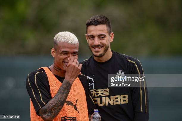Kenedy and Joselu share a joke during the Newcastle United Training session at Carton House on July 12 in Kildare Ireland