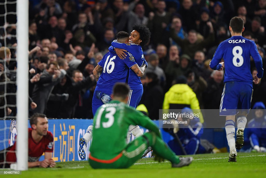 Kenedy (C-L) and Willian of Chelsea celebrate their third goal scored by Gareth McAuley of West Bromwich Albion during the Barclays Premier League match between Chelsea and West Bromwich Albion at Stamford Bridge on January 13, 2016 in London, England.