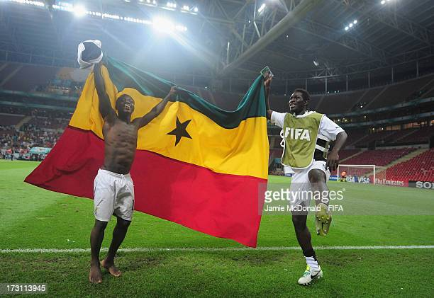 Kenedy Ashia of Ghana celebrates victory during the FIFA U-20 World Cup Quarter-Final match between Ghana and Chile at the Ali Sami Yen Arena on July...