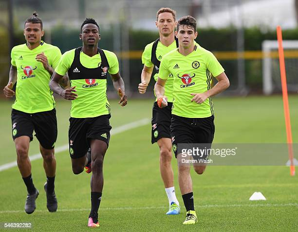 Kenedy Baba Rahman Nemanja Matic Oscar Diego Costa during a Chelsea training session at Chelsea Training Ground on July 12 2016 in Cobham England