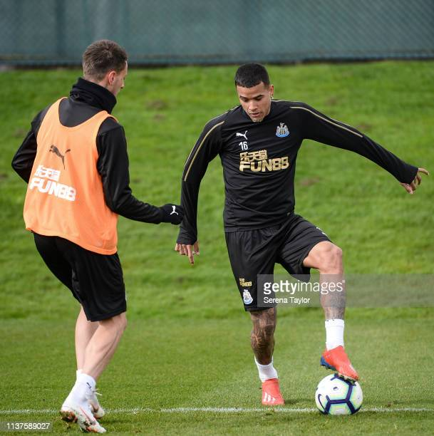 Kenedy controls the ball whilst Antonio Barreca looks to challenge during the Newcastle United Training Session at the Newcastle United Training...