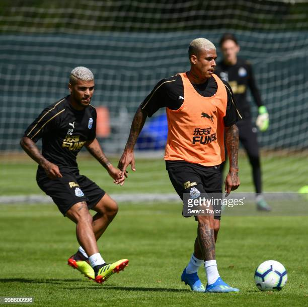 Kenedy controls the ball whilst DeAndre Yedlin looks to challenge during the Newcastle United Training session at Carton House on July 14 in Kildare...