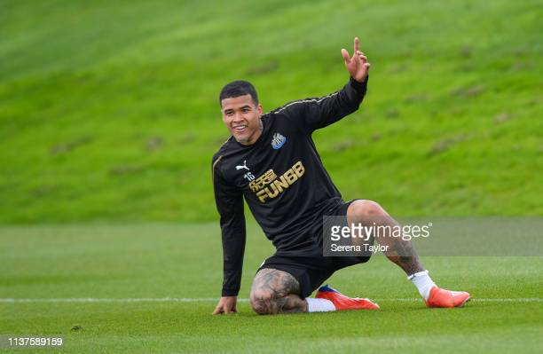 Kenedy during the Newcastle United Training Session at the Newcastle United Training Centre on March 22 2019 in Newcastle upon Tyne England