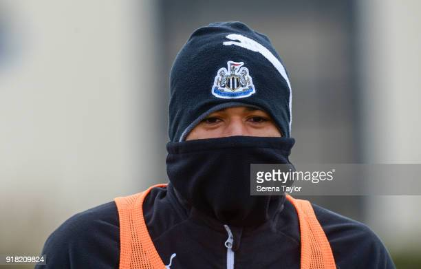 Kenedy during the Newcastle United Training session at The Newcastle United Training Centre on February 14 in Newcastle upon Tyne England