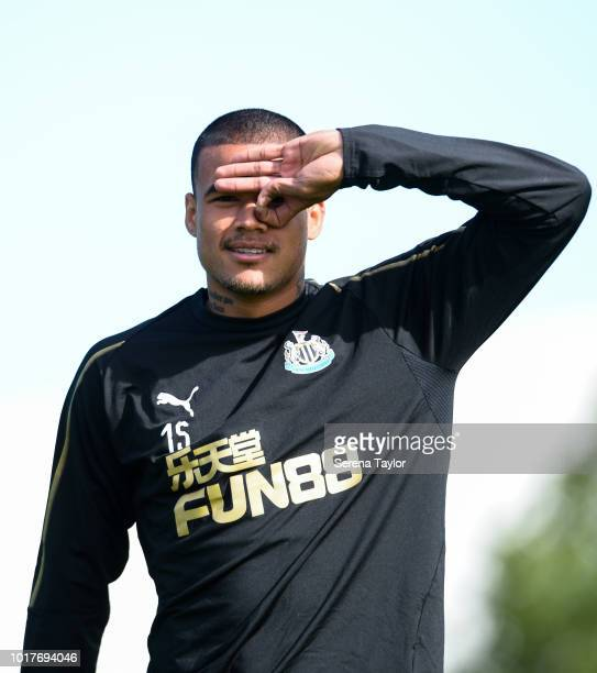 Kenedy gestures during the Newcastle United Training Session at the Newcastle United Training Centre on August 16 in Newcastle upon Tyne England