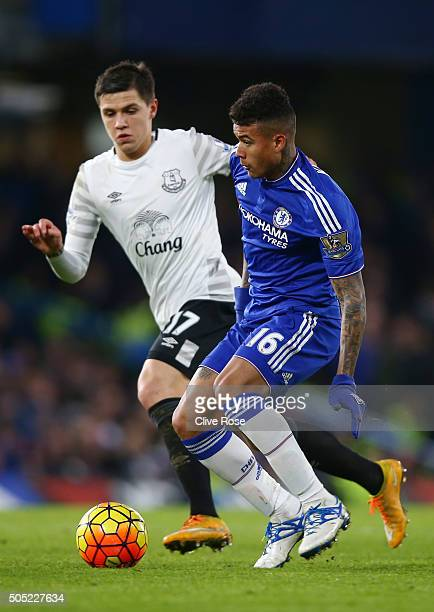 Kenedy of Chelsea and Muhamed Besic of Everton compete for the ball during the Barclays Premier League match between Chelsea and Everton at Stamford...