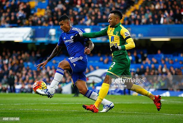 Kenedy of Chelsea and Nathan Redmond of Norwich City compete for the ball during the Barclays Premier League match between Chelsea and Norwich City...