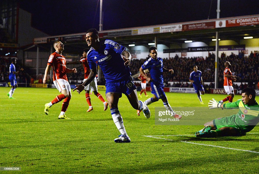 Kenedy of Chelsea celebrates as he scores their third goal during the Capital One Cup third round match between Walsall and Chelsea at Banks's Stadium on September 23, 2015 in Walsall, England.