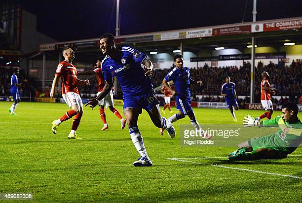 Kenedy of Chelsea celebrates as he scores their third goal during the Capital One Cup third round match between Walsall and Chelsea at Banks's...