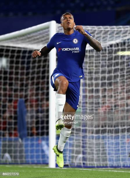 Kenedy of Chelsea celebrates scoring his sides first goal during the Carabao Cup Third Round match between Chelsea and Nottingham Forest at Stamford...