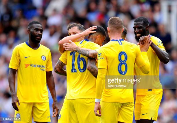 Kenedy of Chelsea celebrates with teammates after scoring his team's second goal during the PreSeason Friendly match between Reading and Chelsea at...