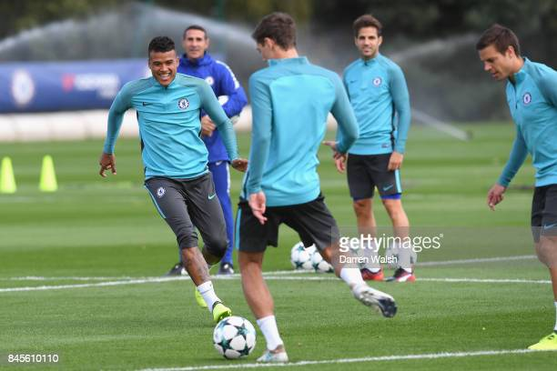 Kenedy of Chelsea during a training session on the eve of their UEFA Champions League group C match against Qarabag FK at Chelsea Training Ground on...