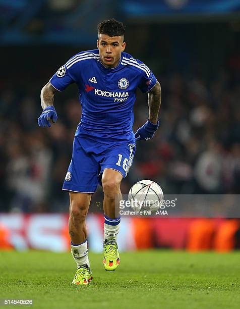 Kenedy of Chelsea during the UEFA Champions League match between Chelsea and Paris SaintGermain at Stamford Bridge on March 9 2016 in London United...