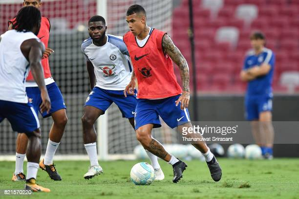 Kenedy of Chelsea FC runs with the ball during a Chelsea FC International Champions Cup training session at National Stadium on July 24 2017 in...