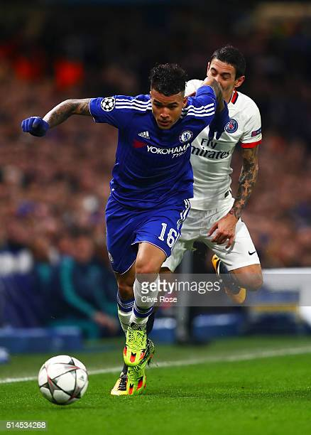 Kenedy of Chelsea goes past the challemge from Angel Di Maria of PSG during the UEFA Champions League round of 16 second leg match between Chelsea...