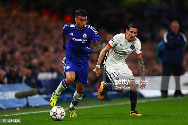 Kenedy of Chelsea goes past the challenge from Angel Di Maria of PSG during the UEFA Champions League round of 16 second leg match between Chelsea...