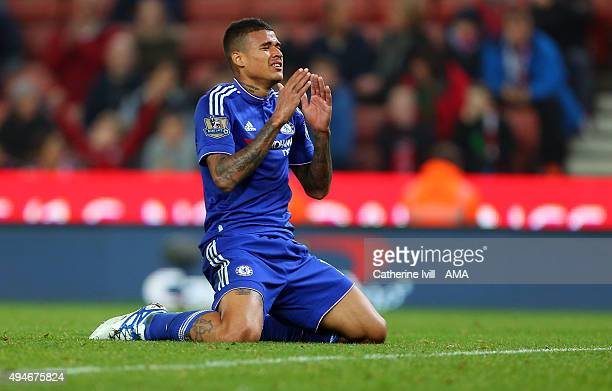 Kenedy of Chelsea reacts after missing a chance during the Capital One Cup Fourth Round match between Stoke City and Chelsea at Britannia Stadium on...