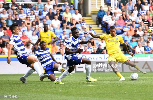 Kenedy of Chelsea scores his team's second goal during the PreSeason Friendly match between Reading and Chelsea at Madejski Stadium on July 28 2019...