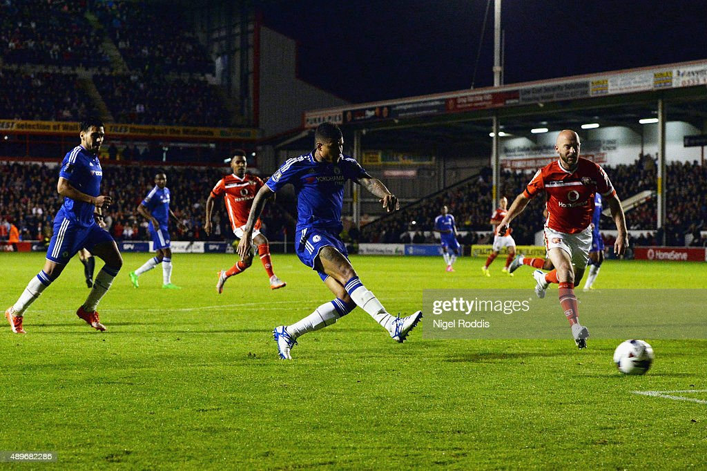 Kenedy of Chelsea scores their third goal during the Capital One Cup third round match between Walsall and Chelsea at Banks's Stadium on September 23, 2015 in Walsall, England.