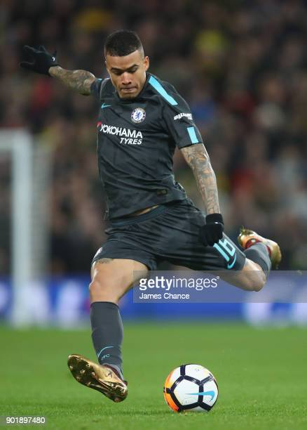 Kenedy of Chelsea shoots during the The Emirates FA Cup Third Round match between Norwich City and Chelsea at Carrow Road on January 6 2018 in...