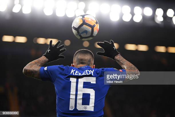 Kenedy of Chelsea takes a throw in during The Emirates FA Cup Third Round Replay between Chelsea and Norwich City at Stamford Bridge on January 17...