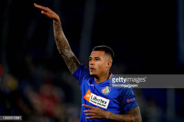 Kenedy of Getafe celebrates 20 during the UEFA Europa League match between Getafe v Ajax at the Coliseum Alfonso Perez on February 20 2020 in Getafte...