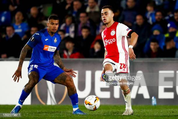 Kenedy of Getafe CF Sergino Dest of Ajax during the UEFA Europa League match between Getafe v Ajax at the Coliseum Alfonso Perez on February 20 2020...